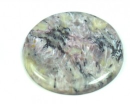 42mm Charoite purple round cabochon 42mm by 4.5mm 74.90ct
