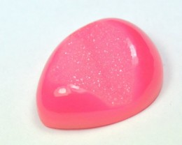 27mm Pink Druzy Agate heart cabochon 27 by 22 by 9mm