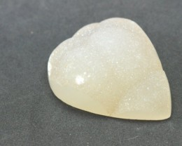 SALE 38mm White drop Druzy Agate cabochon 38 by 31 by 15mm