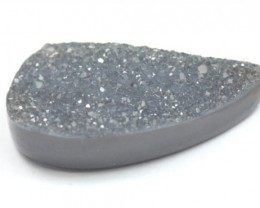 30mm black grey DRUZY AGATE CABOCHON 30 by 14 by 8mm