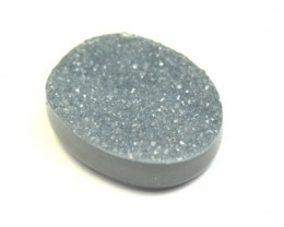 20mm black grey DRUZY AGATE CABOCHON 20 by 16 by 6mm