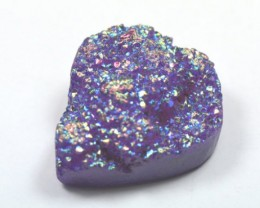 32mm Titanium coated druzy agate heart cabochon 32 x 17 x 14