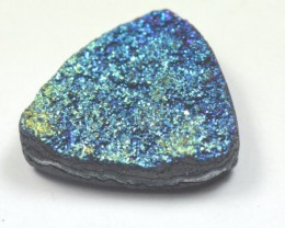 24mm Titanium coated druzy agate triangle cabochon 24x19x5.5