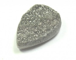 26mm silver coated druzy agate pear cabochon 26 by 17 by7mm