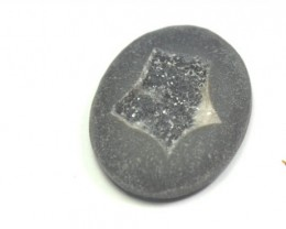 reserved 27mm matt black DRUZY AGATE CABOCHON 27 x 21 x 5mm