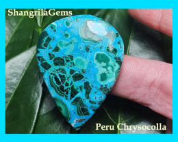 45mm Chrysocolla Malachite VIDEO 45 by 35 by 6mm 85.5ct from Peru