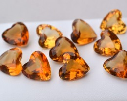 55.33 Carat Set of Old Stock Fancy Heart Shaped Citrine