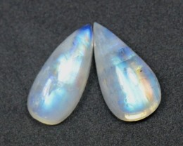 SALE Pair 18mm drop pear moonstone cabochon AA Grade