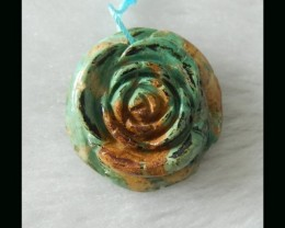Flower Carving Turquoise Pendant Bead,27x9mm,7.36g