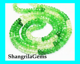 "18"" 4mm faceted beads Tsavorite & Mali green Garnet TS001"