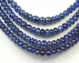 "SALE 7"" 3mm to 5mm SAPPHIRE smooth blue roundelle beads SA005 - treated"