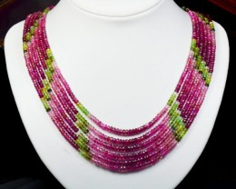 "6 lines AAA Watermelon Tourmaline beads 16"" - 19"" 4mm TOU"