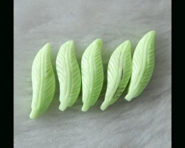 100% Handmade Lemon Jade Feather Carving Beads,20x6x4mm