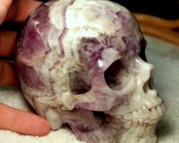 2.7 Lbs. Amethyst Hand Carved Skull - 5 Inches