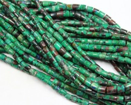 MALACHITE COPPER HESHI BEADS 5 MM SIZE -  16 INCHES LENGHT