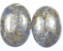 SALE pair 31mm mojave Kyanite and Calcite copper cabochon 31.5 by 21 by 5mm
