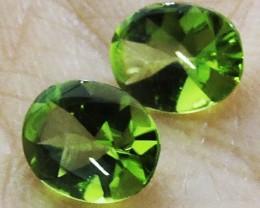 3.40 Cts Pair Peridot Gemstones  9X7MM  HS 65