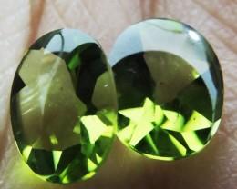 3.4 Cts Pair Peridot Gemstones  9X7MM  HS 66