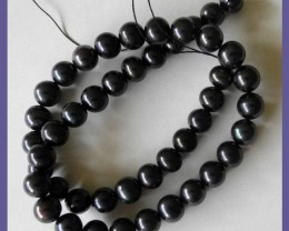 AA+++ ELEGANT BLACK/PURPLE 8.50-9.00MM 'ROUND' F/WATER PEARLS