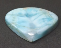 35.5mm Larimar Blue Heart cabochon 60.80ct 35.5 by 27 by 7mm