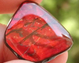 22.35ct CANADIAN AMMOLITE CAB RED FIRE STUNNING GEMSTONE