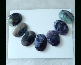 Natural Rainbow Fluorite Cabochons Set,Colorful Gemstone Necklace ,25x19x5m