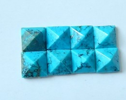 Turquoise Pyramids Cabochons Set,8x5mm