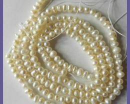 2 STRANDS-WONDERFUL QUALITY 5.00MM CREAMY WHITE PEARL STRAND!!