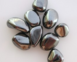 8.00g TUMBLE POLISHED HEMATITE FROM BRAZIL 9 STONES (40.00ct)