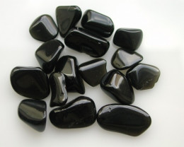 10.44g TUMBLE POLISHED BLACK OBSIDIAN 16 PIECES (52.20ct)