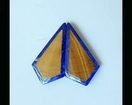 Lapis Lazuli,Tiger Eye Intarsia Cabochon Pair,20x11x2mm