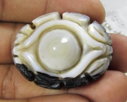 117cts Lovely Tibet Agate Carving Drilled Bead Z 2117