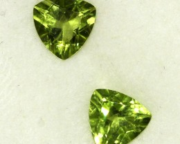 2.34 CTS PAIR OF TRILLIANT CUT PERIDOT GEMS (ST8587)