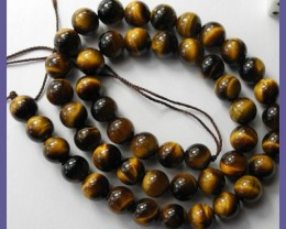 BEAUTIFULLY CHATOYANT NATURAL 8MM ROUND TIGER EYE BEADS!!