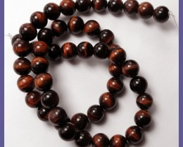 BEAUTIFULLY CHATOYANT NATURAL 8MM ROUND RED TIGER EYE BEADS!!