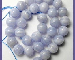 NATURAL 12MM ROUND BLUE LACE AGATE BEADS-GORGEOUS COLOR!!
