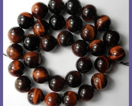 BEAUTIFULLY CHATOYANT NATURAL 12MM ROUND RED TIGER EYE BEADS!!