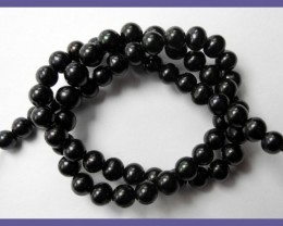 AA+ QUALITY BLACK NEAR ROUND 6.00MM FRESHWATER PEARL STRAND