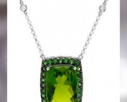 HUGE KASHMIRI PERIDOT, GREEN DIAMONDS,TSAVORITE GARNETS in 18KT WHITE GOLD