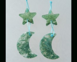 Moss Agate Star ,Moon Earring Beads - 28x13x2 MM