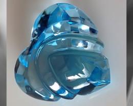 CERTIFIED STUNNING SWISS BLUE HEART CUT BLUE TOPAZ 39.12CTS VVS QUALITY