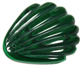 49.00 CTS  MALACHITE LEAF CARVING TOP POLISH