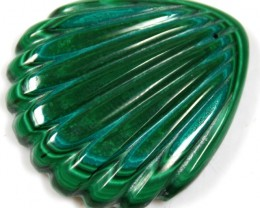 83.40 CTS  MALACHITE LEAF CARVING TOP POLISH