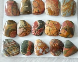 Ntaural Multi-color Picasso Jasper Cabochons Set, Gme For Silvver ,Gold Jew