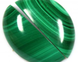 17.20  CTS CABOCHON HIGH DOME MALACHITE PAIRS