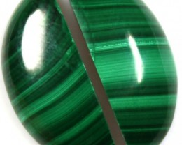 18.10  CTS CABOCHON HIGH DOME MALACHITE PAIRS