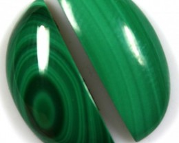 16.90  CTS CABOCHON HIGH DOME MALACHITE PAIRS