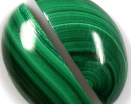 18.75  CTS CABOCHON HIGH DOME MALACHITE PAIRS