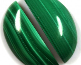 18.05 CTS CABOCHON HIGH DOME MALACHITE PAIRS