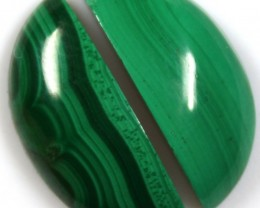 19.05 CTS CABOCHON HIGH DOME MALACHITE PAIRS